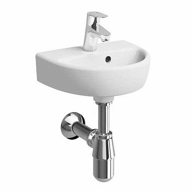 NOVA PRO umywalka wisząca owalny z otworem z przelewem 360 x 290 mm biała