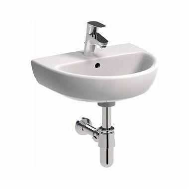 Nova Pro umywalka wisząca owalny z otworem z przelewem 450 x 370 mm biała
