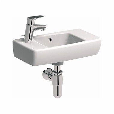 NOVA PRO umywalka wisząca prostokątny z otworem z przelewem 450 x 250 mm biała