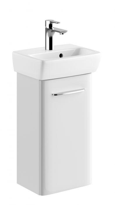 NOVA PRO szafka podumywalkowa wisząca 1 drzwiczki 360 x 280 x 649 mm biała połysk w zestawie z umywalką prostokątną 36 x 28 cm