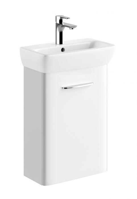 Nova Pro szafka podumywalkowa wisząca 1 drzwiczki 376 x 229 x 557 mm biała połysk w zestawie z umywalką prostokątną 45 x 35 cm