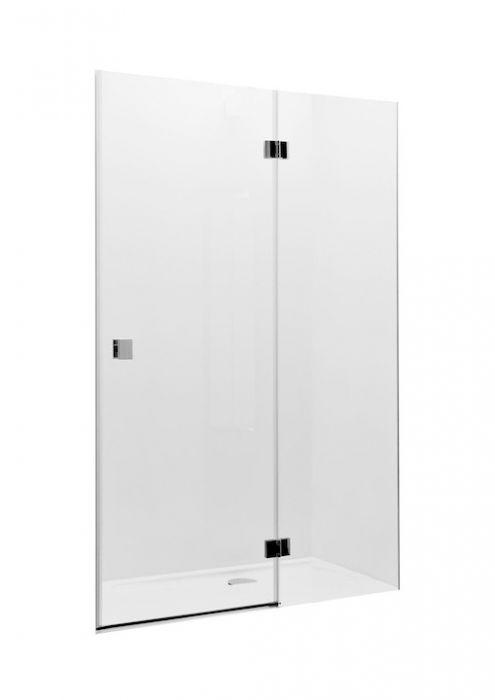 METROPOLIS drzwi z polem stałym 900 x 1950 mm chrom szkło hartowane transparentne MaxiClean