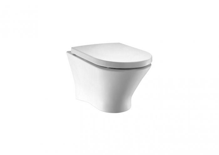 NEXO miska WC podwieszana Rimless - bezkołnierzowa montaż do  ściany na stelażu z odpływem poziomym 36 x 53.5 x 34.5 cm biała 3/6 l z zestawem montażowym