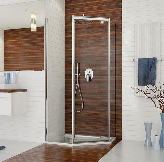 TX PKDJ/TX5b-90-S kabina przyścienna pięciokątny 900 x 900 x 1900 mm srebrny błyszczący szkło hartowane transparentne W0  Glass protect