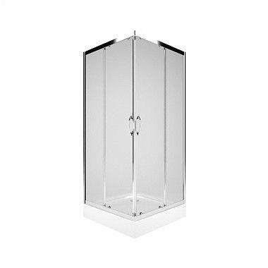 Rekord kabina narożna kwadratowy 800 x 800 x 1850 mm srebrny połysk szkło hartowane przezroczyste drzwi rozsuwane