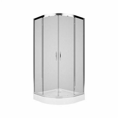 REKORD kabina narożna półokrągły 800 x 800 x 1850 mm srebrny połysk szkło hartowane przezroczyste drzwi rozsuwane
