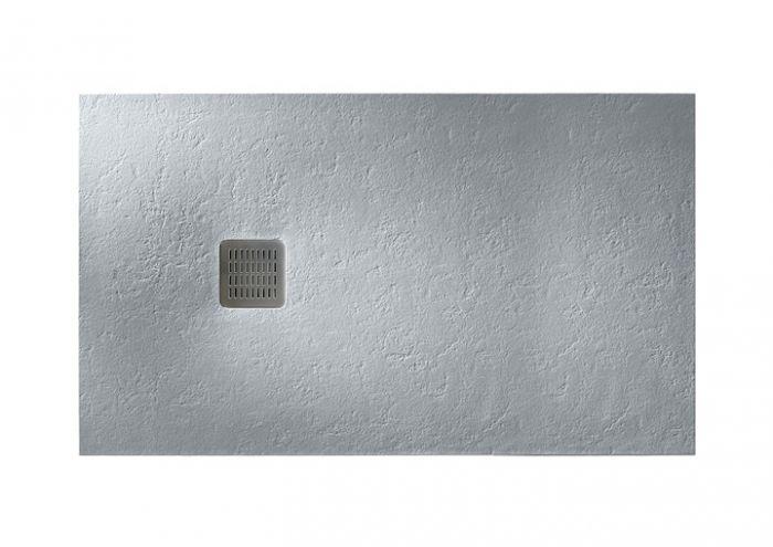 TERRAN brodzik kompozytowy STONEX prostokątny 100 x 90 x 2.6 cm szary cement z syfonem A27L018000 z osłoną ze stali szlachetnej, czyszczonym od góry