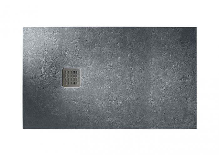 TERRAN brodzik kompozytowy STONEX prostokątny 120 x 80 x 2.8 cm szary łupek z syfonem A27L018000 z osłoną ze stali szlachetnej, czyszczonym od góry