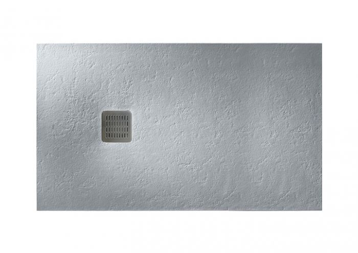 TERRAN brodzik kompozytowy STONEX prostokątny 120 x 90 x 2.8 cm szary cement z syfonem A27L018000 z osłoną ze stali szlachetnej, czyszczonym od góry