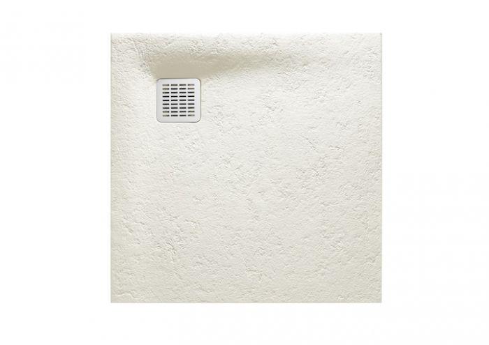 TERRAN brodzik kompozytowy STONEX kwadratowy 90 x 90 x 2.6 cm złamana biel z syfonem A27L018000 z osłoną ze stali szlachetnej, czyszczonym od góry
