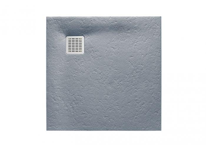 TERRAN brodzik kompozytowy STONEX kwadratowy 80 x 80 x 2.6 cm szary cement z syfonem A27L018000 z osłoną ze stali szlachetnej, czyszczonym od góry
