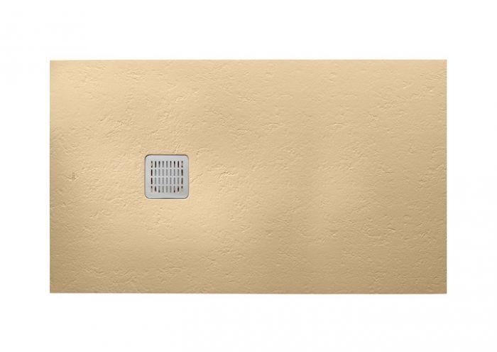 TERRAN brodzik kompozytowy STONEX prostokątny 100 x 90 x 2.6 cm piasek z syfonem A27L018000 z osłoną ze stali szlachetnej, czyszczonym od góry