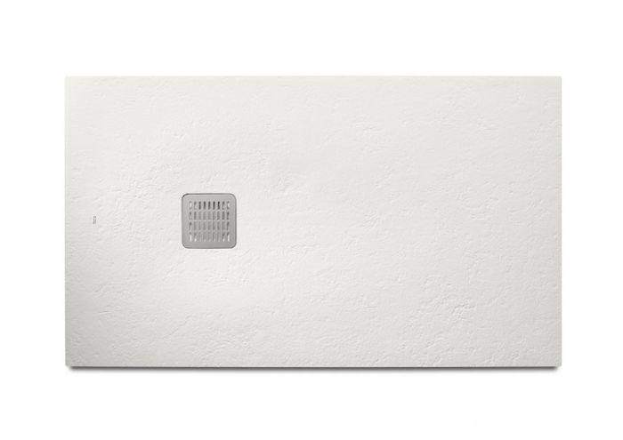 TERRAN brodzik kompozytowy STONEX prostokątny 160 x 80 x 3.1 cm biały z syfonem A27L018000 z osłoną ze stali szlachetnej, czyszczonym od góry
