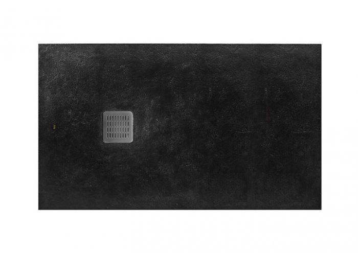 TERRAN brodzik kompozytowy STONEX prostokątny 100 x 90 x 2.6 cm czarny z syfonem A27L018000 z osłoną ze stali szlachetnej, czyszczonym od góry