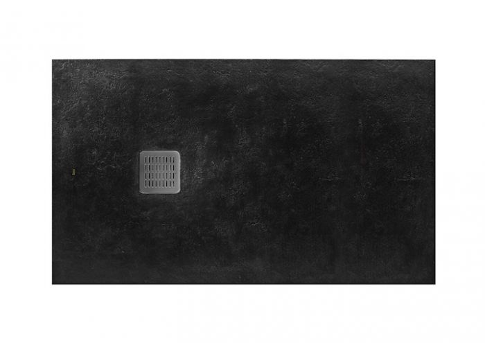 TERRAN brodzik kompozytowy STONEX prostokątny 120 x 90 x 2.8 cm czarny z syfonem A27L018000 z osłoną ze stali szlachetnej, czyszczonym od góry