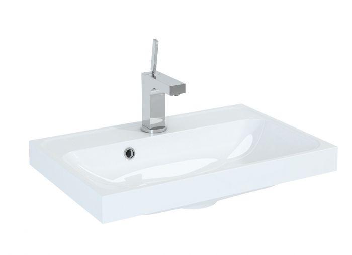 Kwadro 600 umywalka konglomeratowa meblowa prostokątny 600 x 400 x 55 mm biała
