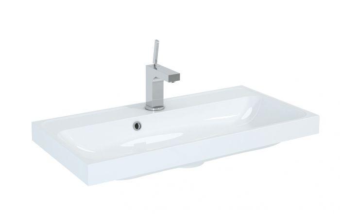 Kwadro 800 umywalka konglomeratowa meblowa prostokątny 800 x 400 x 55 mm biała
