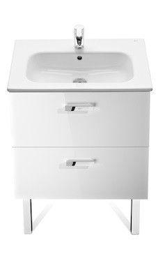 Victoria Basic Unik zestaw łazienkowy 585 x 450 x 565 mm biały połysk szafka z 2 szufladami z umywalką 60 cm z otworem na baterię, z zestawem montażowym
